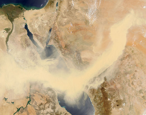 Haboob en el Mar Rojo. Foto NASA - Wikimedia Commons.