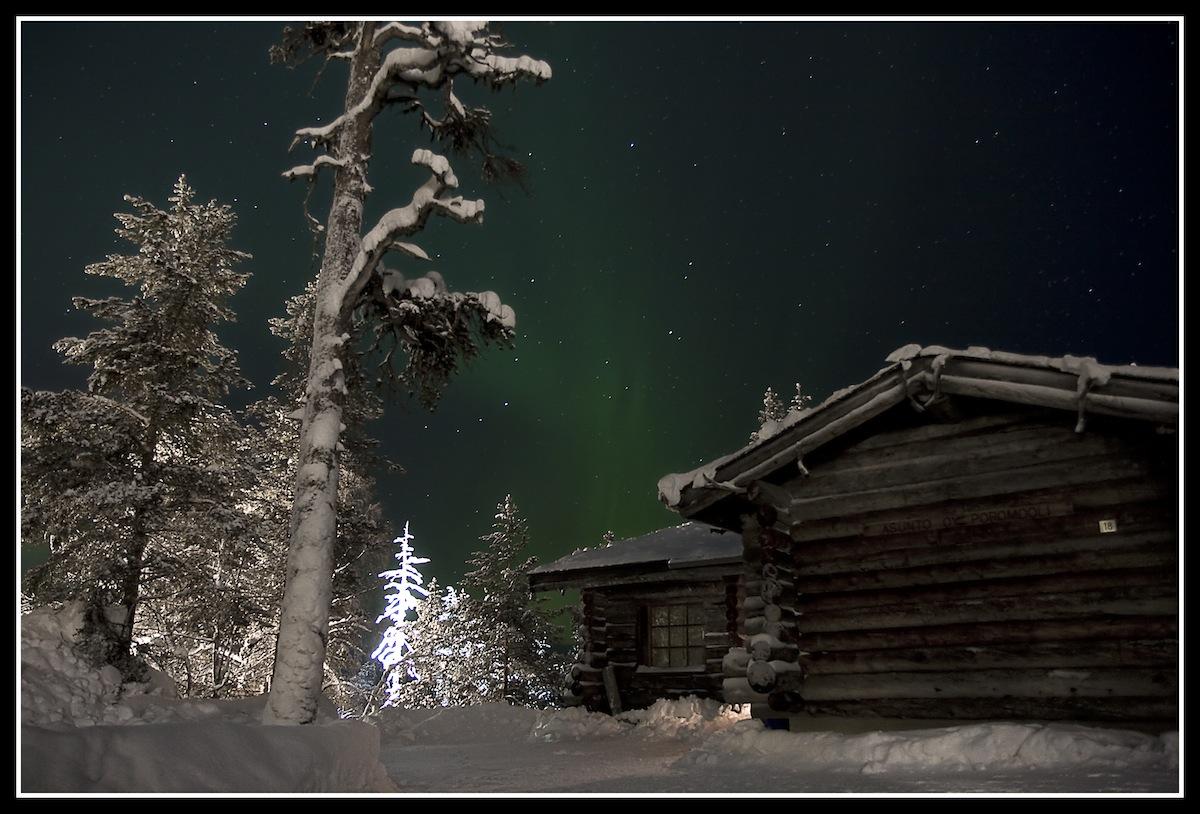 Aurora boreal en Saariselkä, Finlandia, en Febrero de 2010. Foto Luis M. González (digitalmeteo)
