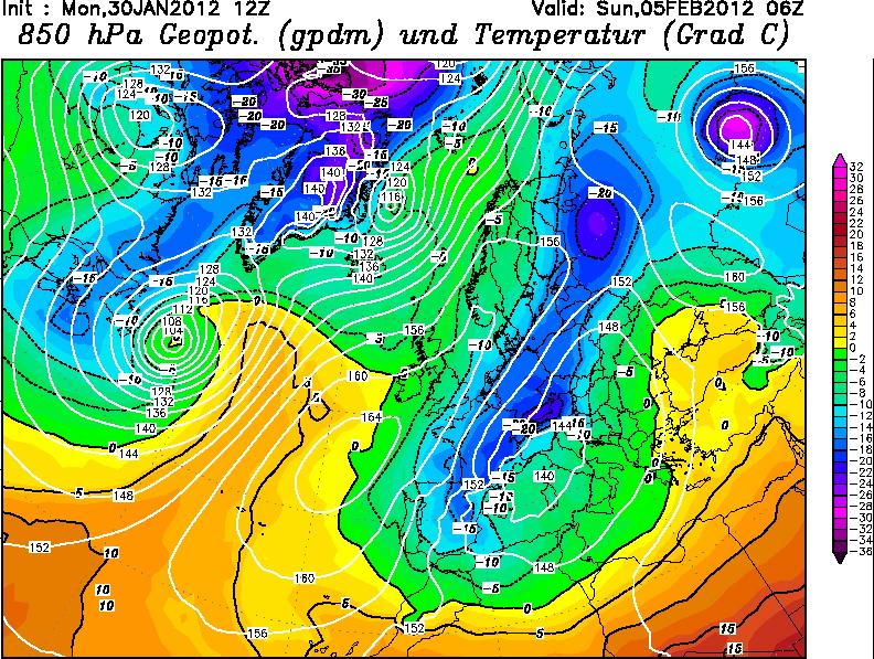 Temperaturas previstas el domingo 5 de Febrero a 1.500 metros de altura. GFS.