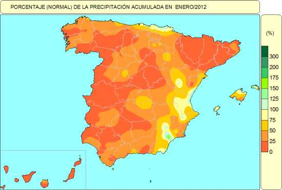 Mapa de precipitación en Enero de 2012. Fuente Aemet.