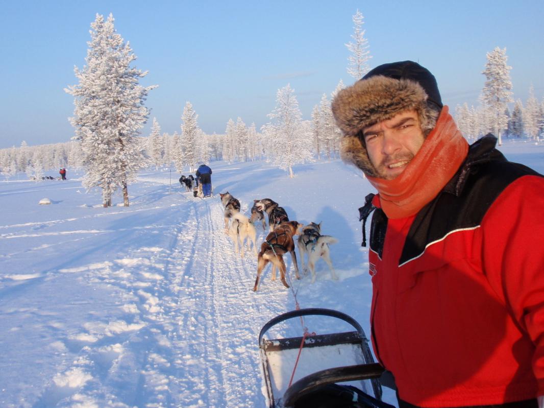 Hace dos años, en la excursión con trineo y huskys en Laponia