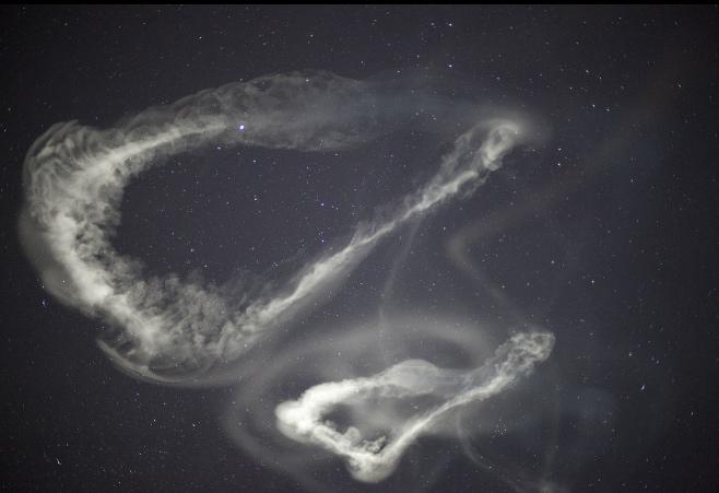 El TMA brillando en los cielos, ayer de madrugada. Vía NASA.