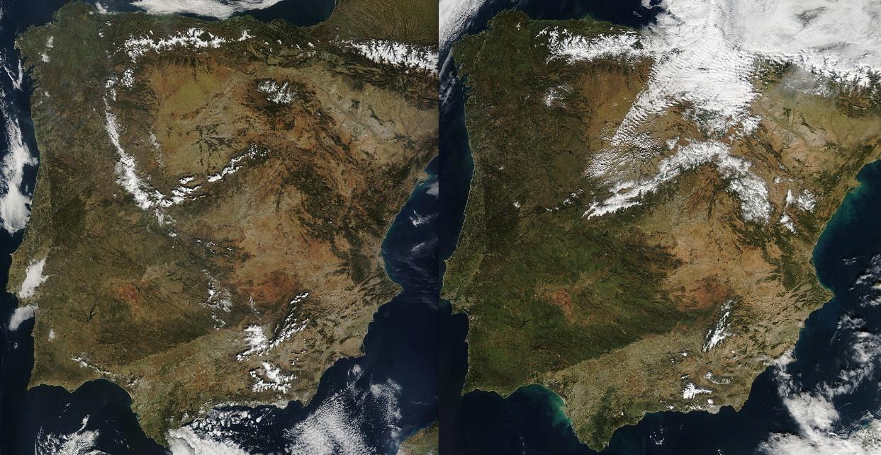 Un año de diferencia desde el satélite, estamos más secos.