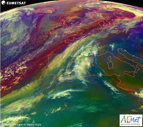 Mapa de temperatura de masas de aire de esta misma mañana. Fuente AEMet.