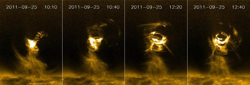 Tornado solar. Foto: (NASA/SDO/AIA/Aberystwyth University/Li/Morgan/Leonard)