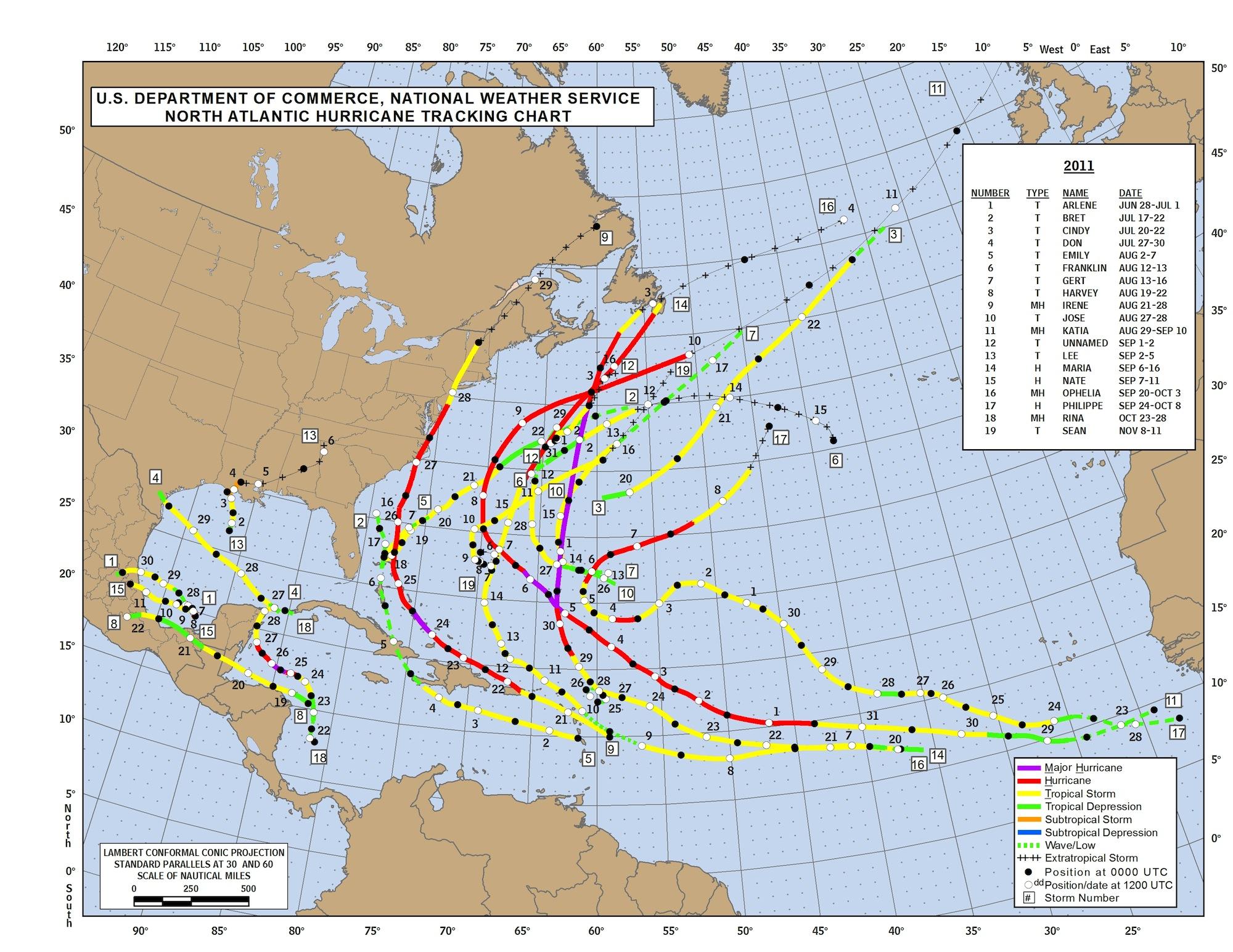 Trayectoria de los huracanes de 2011. Fuente: National Weather Service.