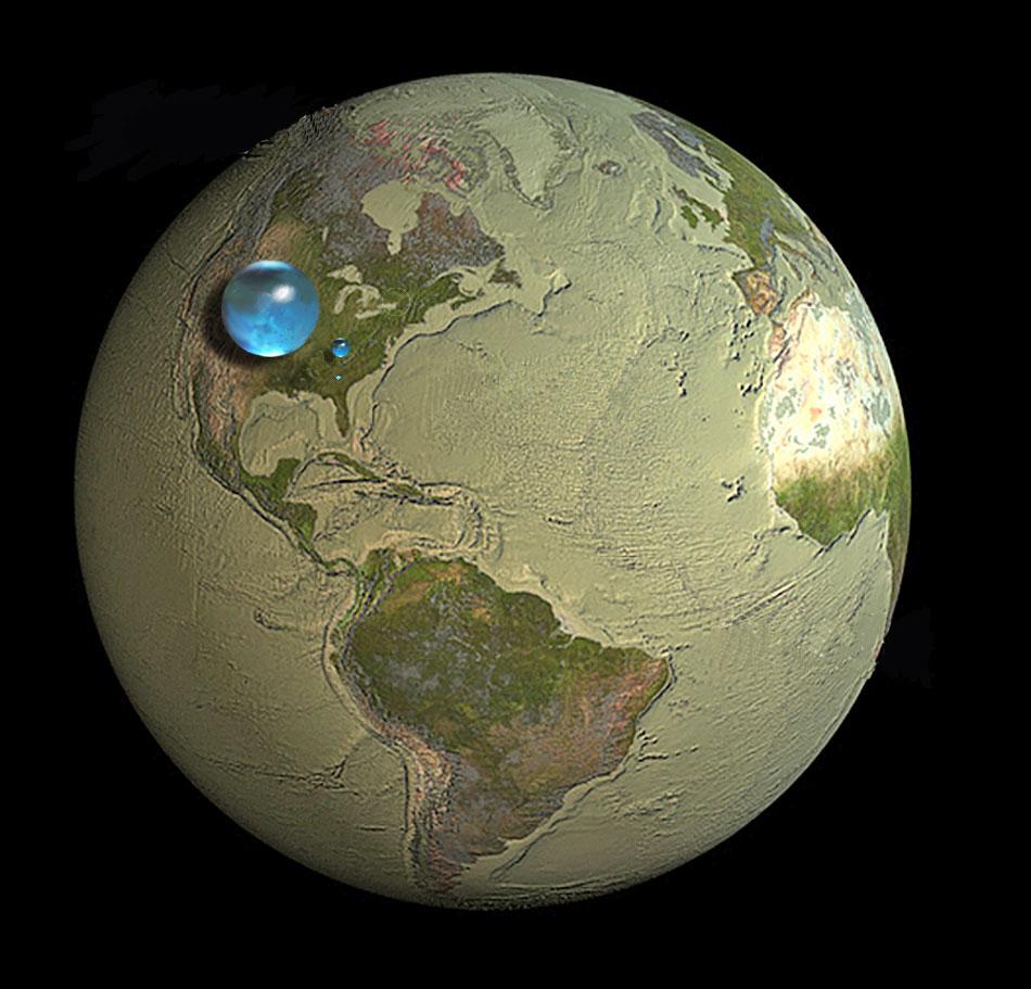 Representación del agua terrestre.