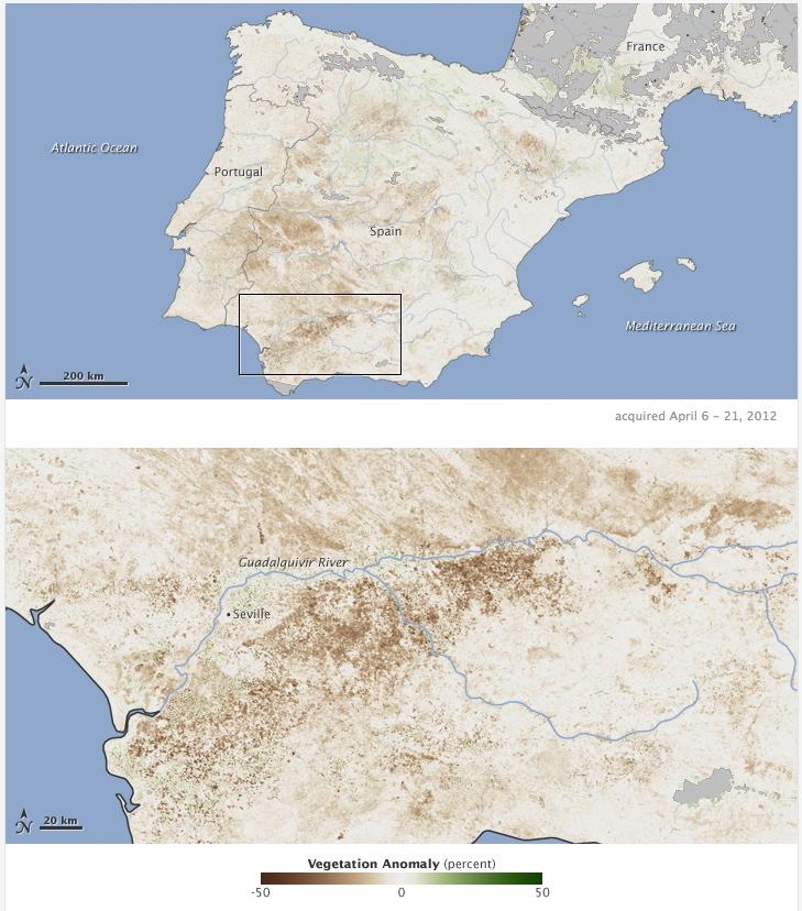 En marrón zonas con la vegetación menos desarrollada. 6/4/2012 Fuente: EO/NASA