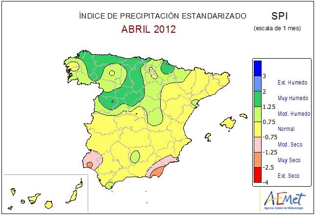IPS de Abril de 2012. Fuente AEMET.