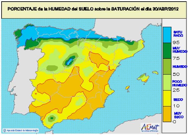 Porcentaje de humedad en suelo, a finales de Abril. Fuente AEMET.