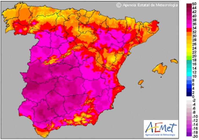 Mapa de máximas para el martes 26 de Junio de 2012. Fuente AEMet.