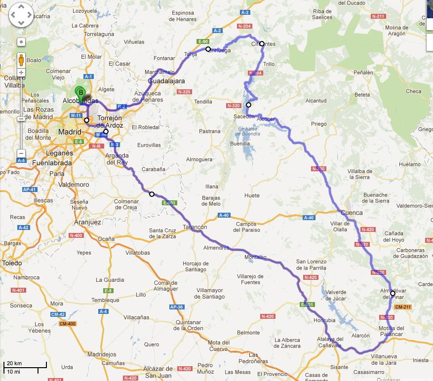 Ruta de ayer, unos 540 kilómetros en total. Fuente Google Maps.