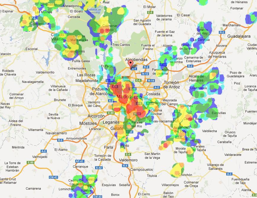 Ecos falsos de radar que se muestran hoy en la zona centro.