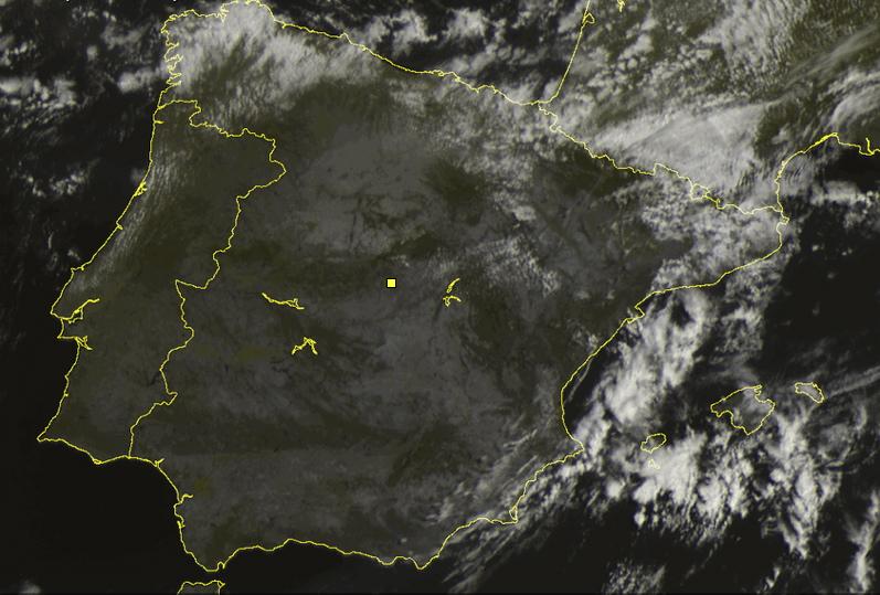 Imagen visible de satélite a la misma hora. Ni rastro de nubosidad en la zona centro.