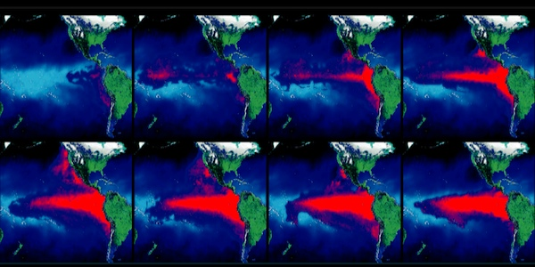 Representación visual de la evolución de las condiciones de El Niño.
