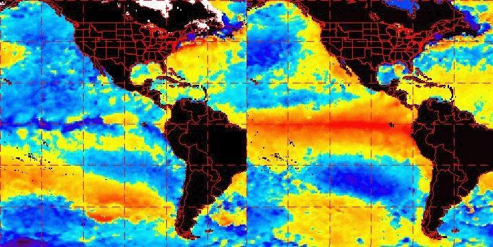 Temperaturas del océano durante La Niña (I) y El Niño (D)