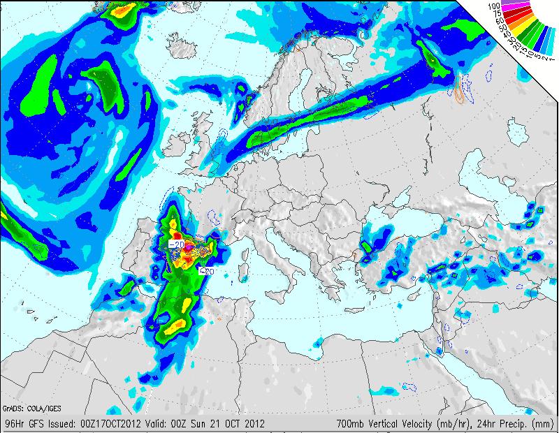 Mapa de precipitación para el sábado 20 según GFS. Fuente GrADS.