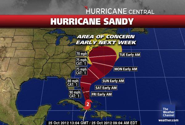 El huracán Sandy afectará los próximos días a Florida. Via TWC.