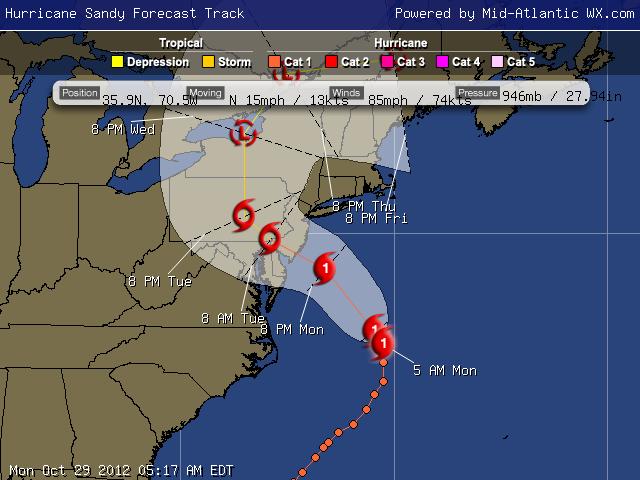 Trayectoria de Sandy los próximos días, vía Mid-Atlantic WX.com
