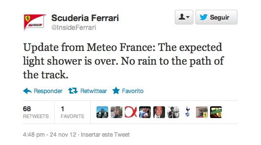Ferrari dejándose llevar por Meteo France...