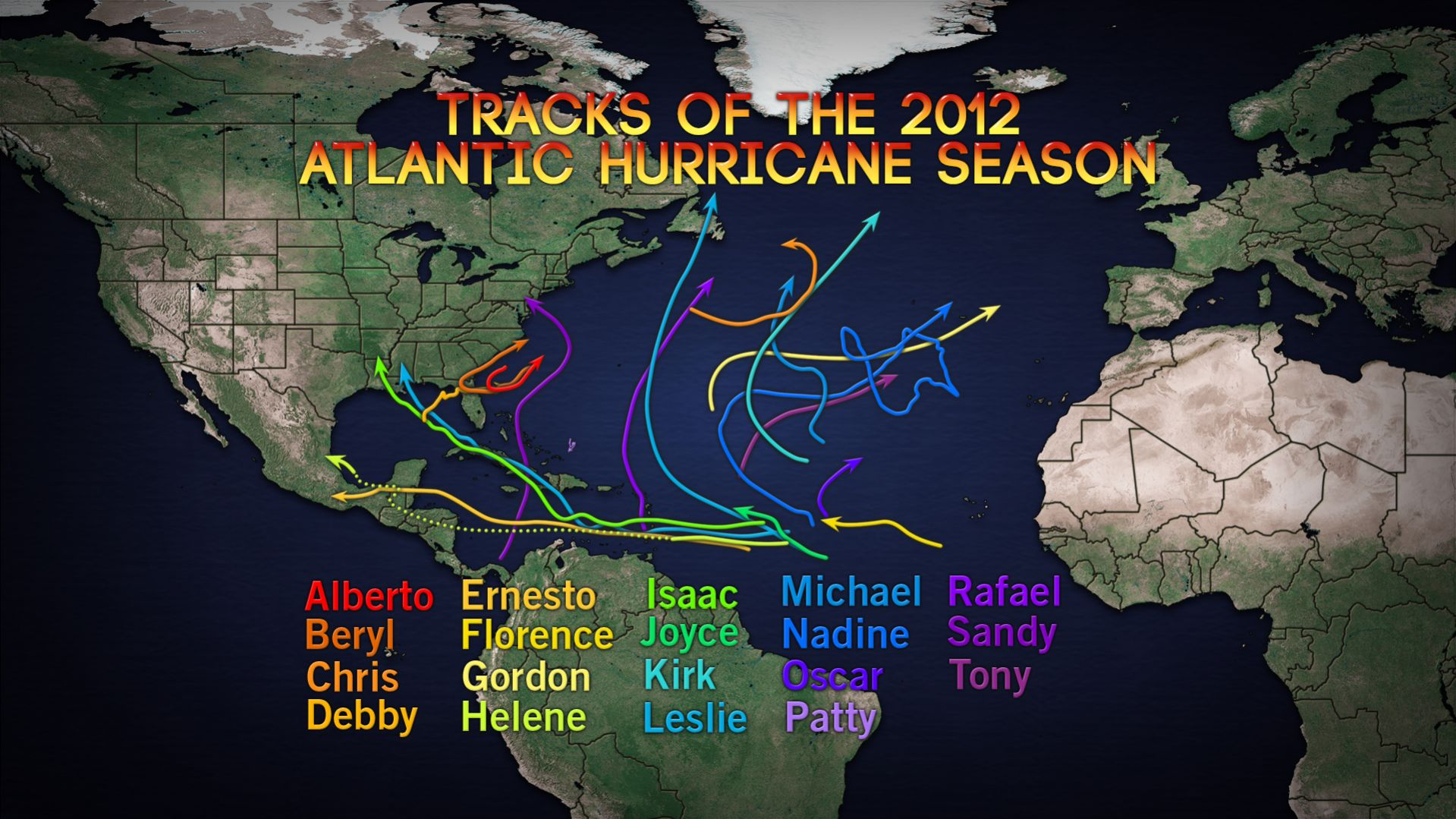 Las 19 tormentas de este año en el Atlántico. Fuente: AccuWeather.