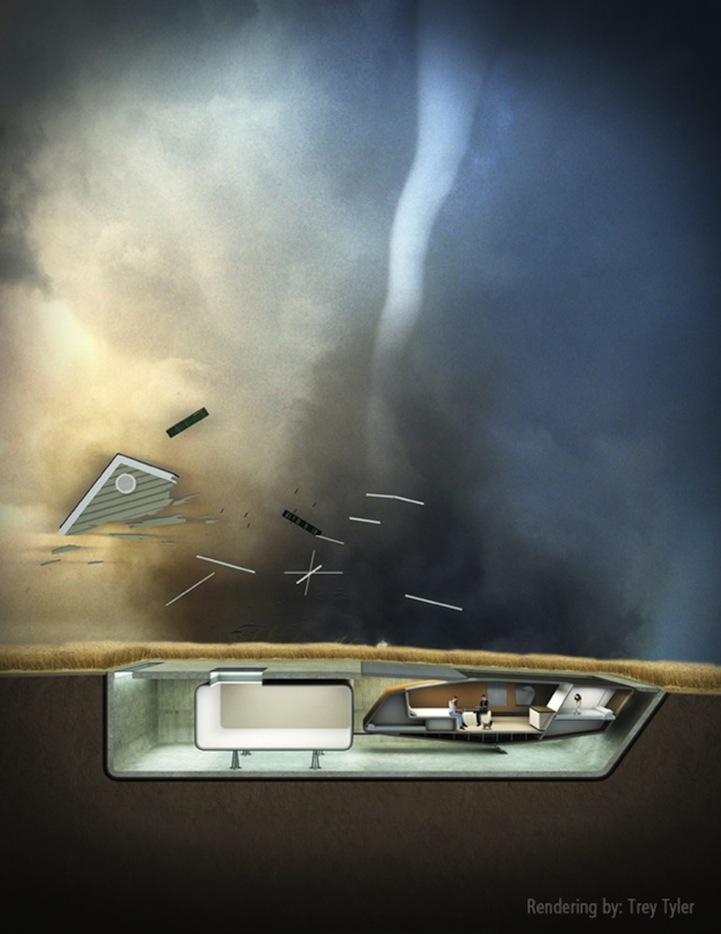 Mientras otras casas volarían, la Casa Tornado se enterraría en el suelo. Fuente: 10 DESIGN.
