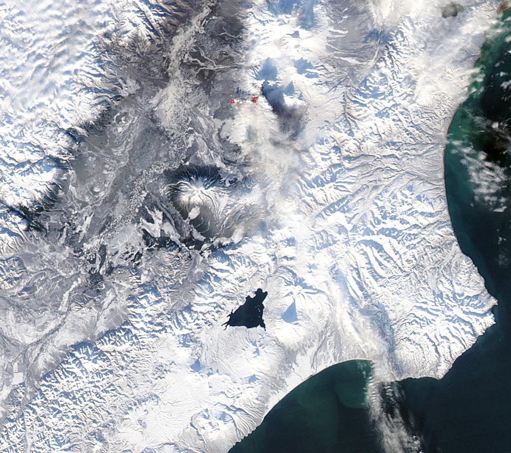 Este de Rusia, Península de Kamchatka, helada completamente. Foto: NASA.