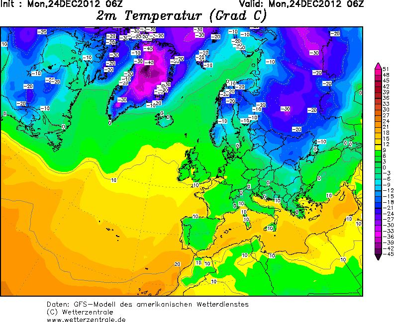 Mapa de temperaturas en superficie de esta mañana. Frío en Siberia.