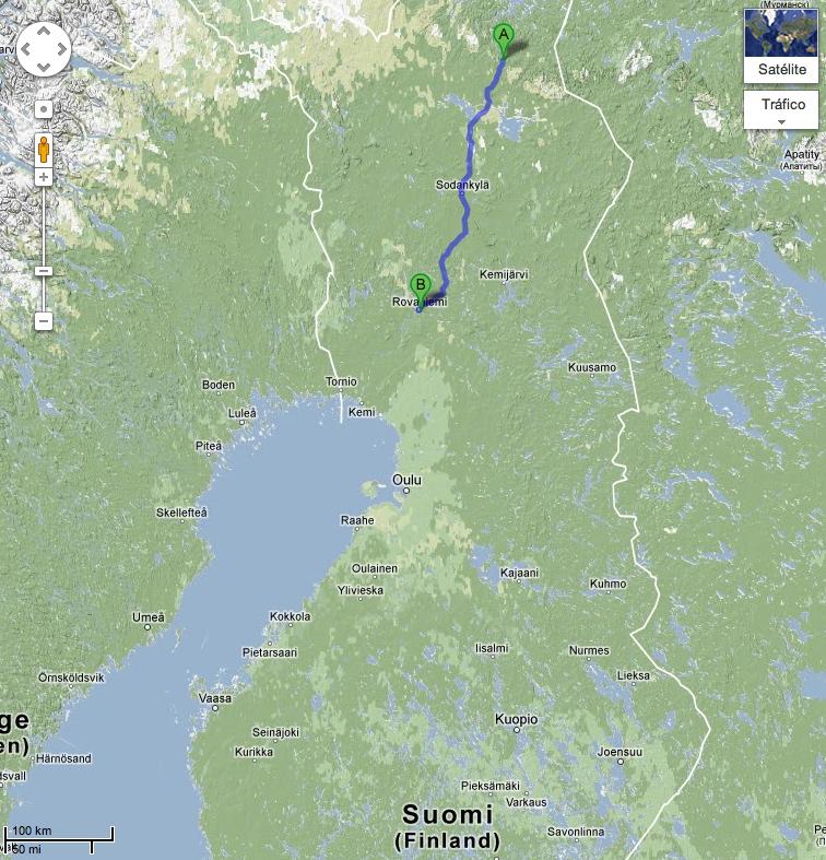 Ruta realizada, desde Saariselkä (norte) a Rovaniemi (sur). Fuente: Google Maps.