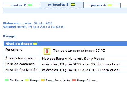 Fig 2.- Aviso de calor por 37ºC. Fuente AEMET