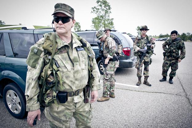 Miembros de las Milicias de Michigan a punto de salir a entrenar. Foto: Hernán Zin.