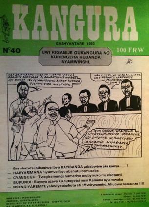 Portada de la revista Kangura, donde se publican por primera vez los Diez Mandamientos Hutus. Museo del Genocidio de Murambi. Foto: Hernán Zin