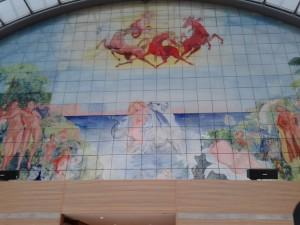 Mural que representa el mito del Rapto de Europa, situado en la última planta del PE de Bruselas.
