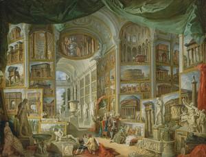 Un óleo de de 1757 Giovanni Paolo Panini en el que se recopilan los tesoros de la antigua Roma (The Metropolitan Museum of Art).