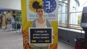 Ska Keller, durante un acto político de su partido en Europa. (@Dontexisteurope)