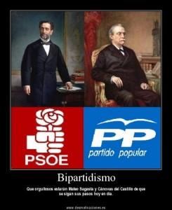 Sagasta y Cánovas, como si fueran del PSOE y el PP, respectivamente (FOTO: desmotivaciones.es).