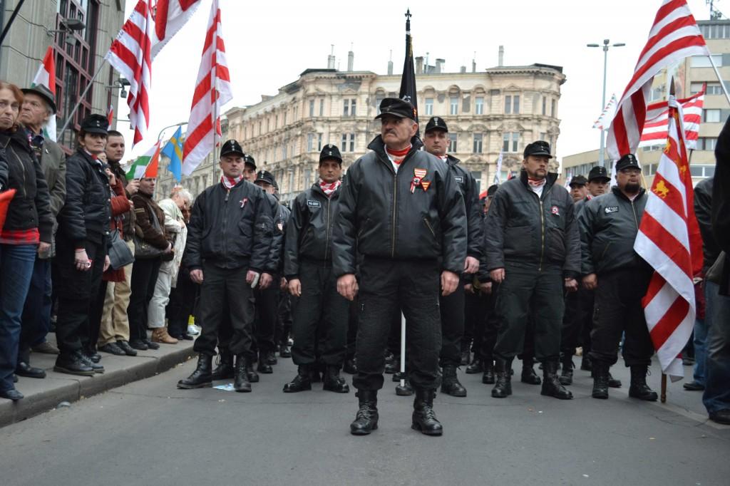 Miembros de la Guardia Húngara en una manifestación en marzo pasado (The Orange Files)