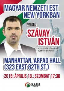 Cartel que anunciaba la participación del número dos de Jobbik en las jornadas de Manhattan. (Foto: HFP)