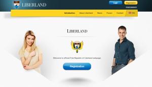 La página de bienvenida a Liberland.