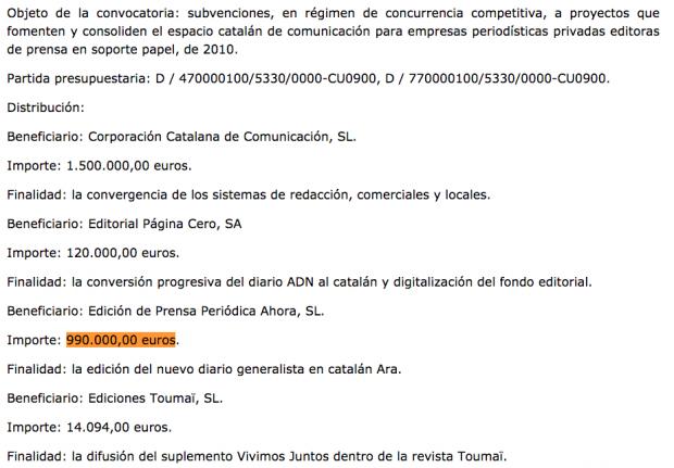 subenciones medios Cataluña 2010