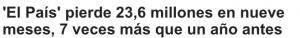El País pierde 23,6 millones en nueve meses