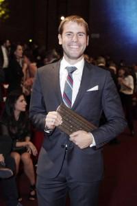Eduardo Suárez en la entrega de los premios de periodismo García Márquez. Medellín, octubre, 2014.