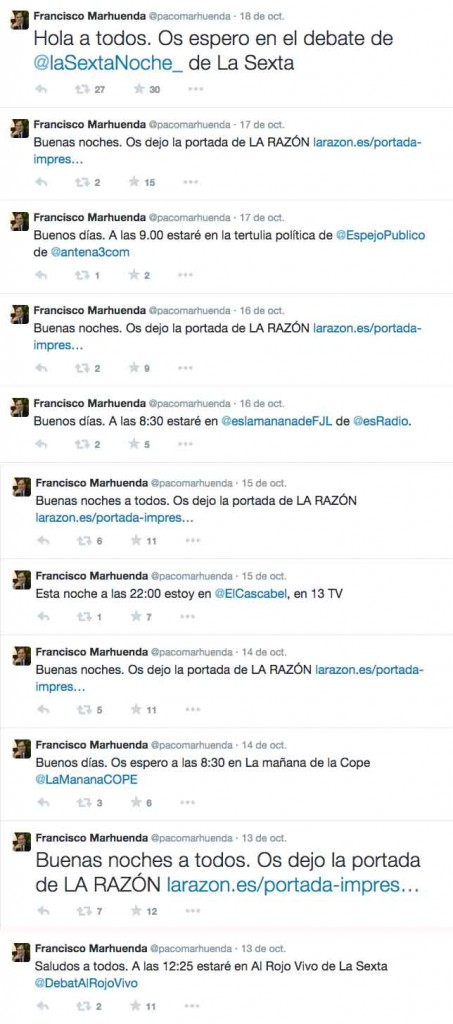Los tuits de Marhuenda de la semana del 13 al 19 de octubre.