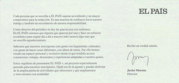 El País sigue enviando tarjetones firmados por Jesús Moreno, el anterior director.