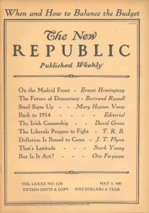 Portada de The New Republic del 5 de mayo de 1937.