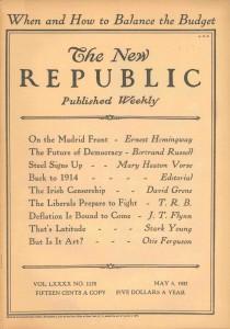 Portada de The New Republic del 5 de mayo de 1937.