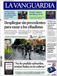 Portada La Vanguardia de 9 de enero de 2015