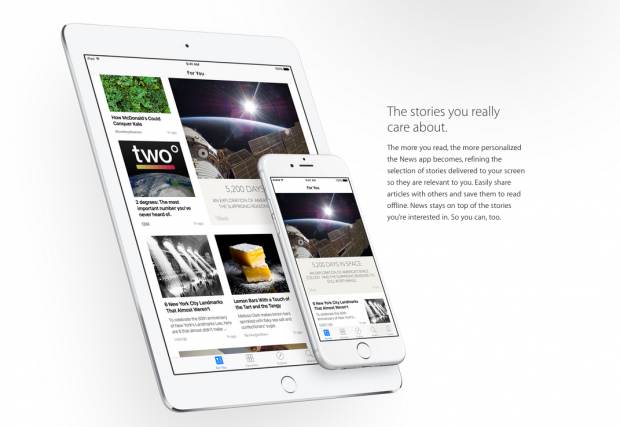 News, la app de noticias de Apple, estará disponible este otoño con iOS 9 para el iPhone y el iPad.