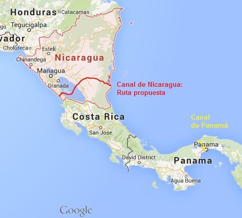 Canal de Nicaragua vs Canal de Panamá. Mapa: Creación propia con Google Maps.