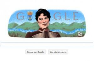 Google dedica su doodle de hoy al 178 aniversario del nacimiento de Rosalía de Castro / Captura de Google.es